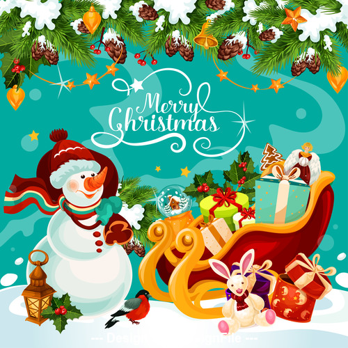 best christmas poster,Christmas cute snowman and gift background cartoon vector