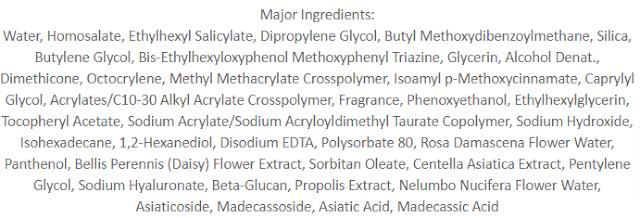 VT Cosmetics Cica Essence Sun Ingredients