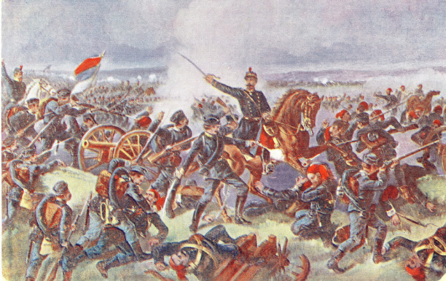 Defeat of the Turkish army in Bitola. Animated postcard issued in Prague, Czech Republic in which in a romantic enthusiasm is shown the victory of the Serbian army during the First Balkan War