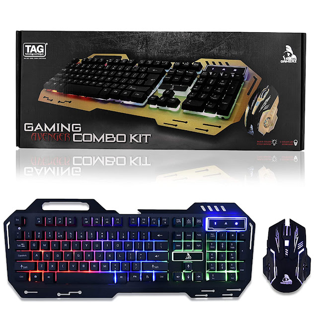 TAG Gaming Combo KIT - Avenger (Black) RGB Keyboard/Mouse with 3 Color LED Keyboard