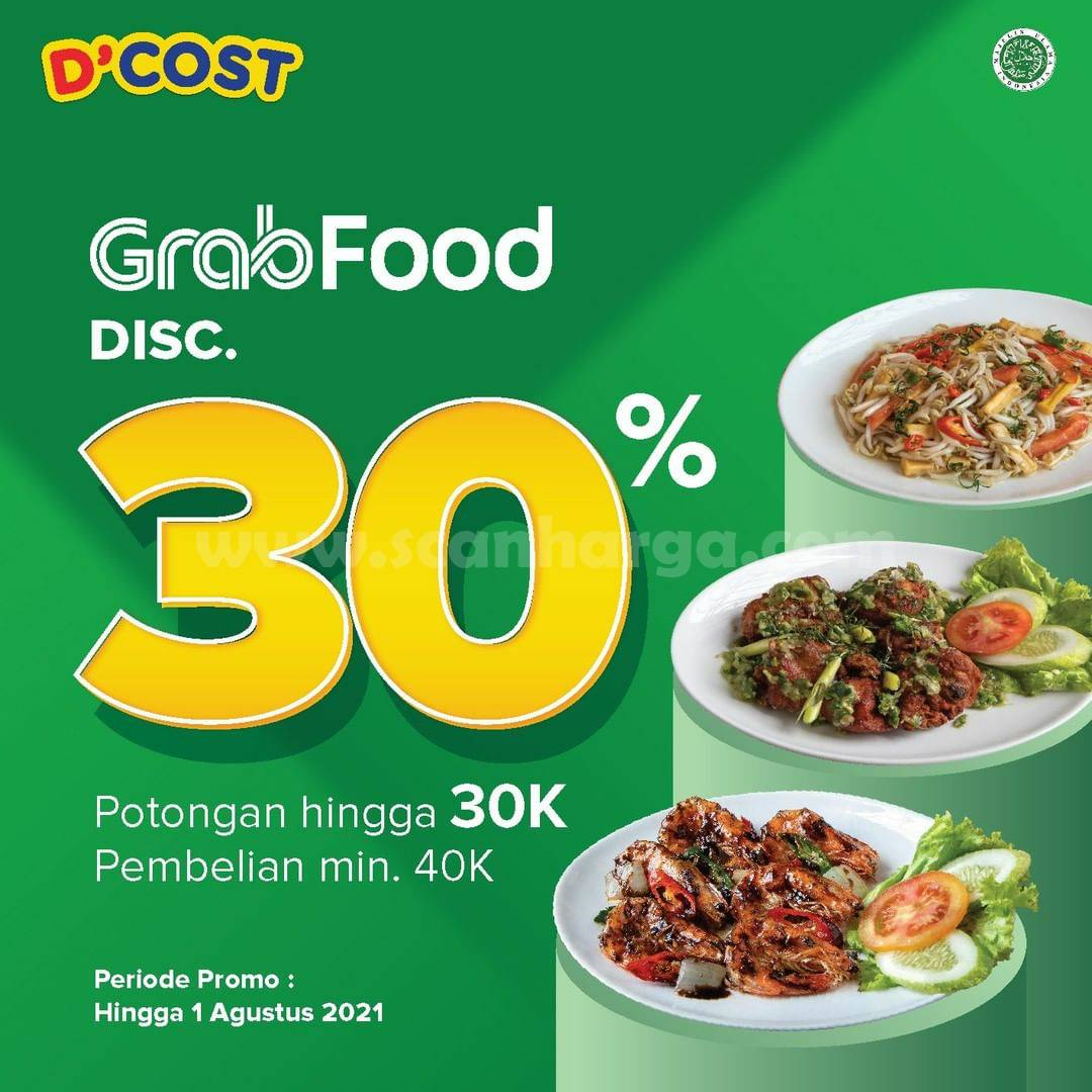 D'Cost Promo DISKON hingga 30% via Grabfood