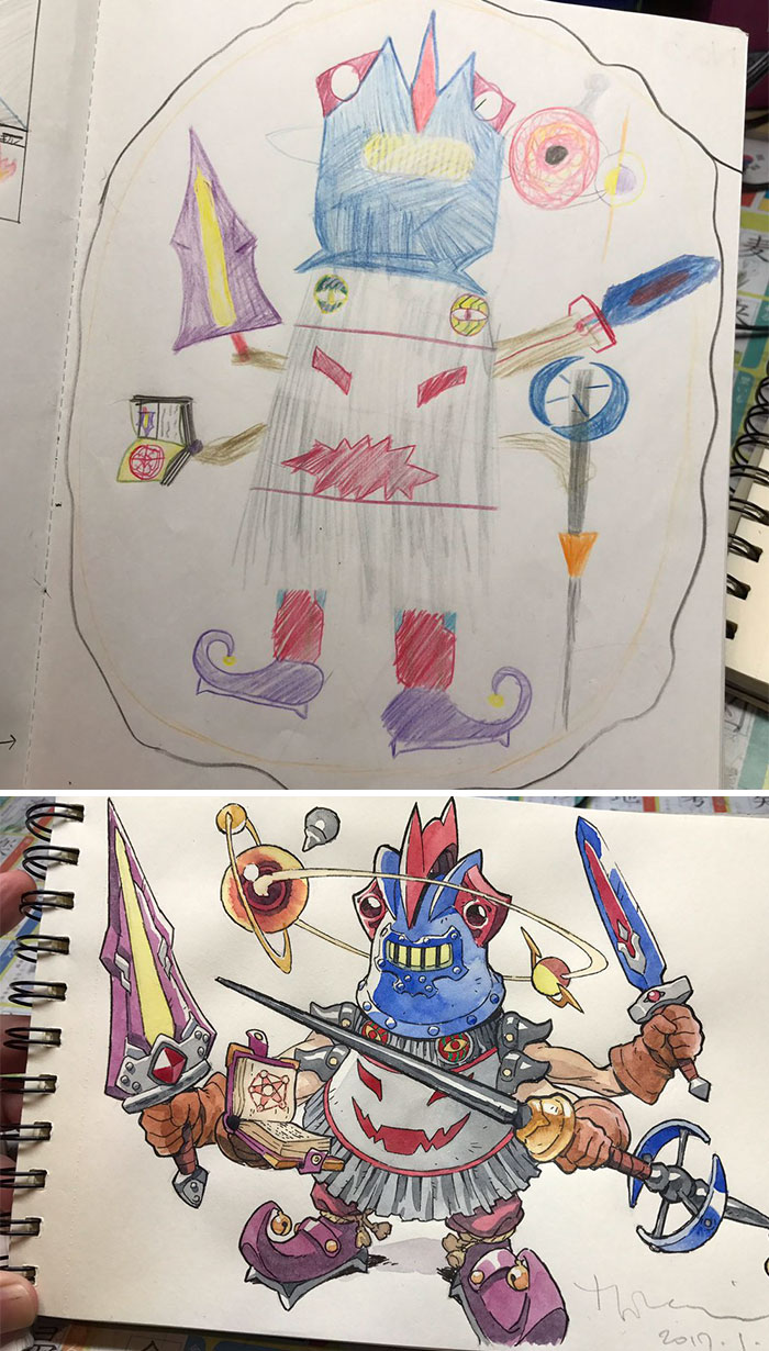 #8 Magic Knight - Dad Turns His Sons' Doodles Into Anime Characters, And The Result Is Amazing