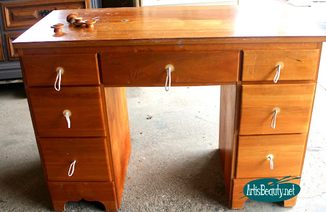 DIY BLOGGER Old outdated vintage pine desk given a bohemian makeover via Paint stain and hardware