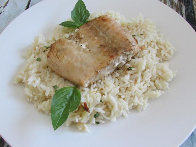 łosoś z ryżem