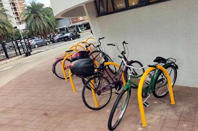 Bicicletário anexo à sala dos motoristas no Terminal Intermodal. Café com Jornalista