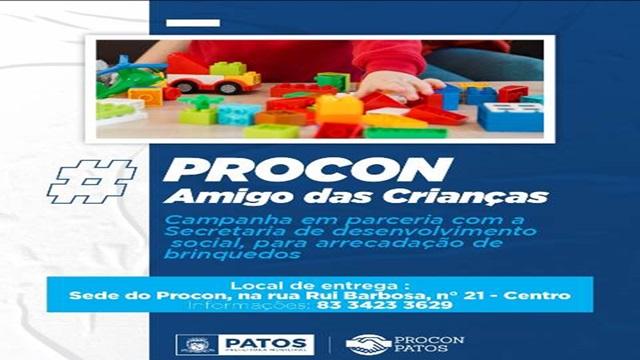 Procon/Patos lança campanha 'Procon amigo das crianças' para arrecadação de brinquedos