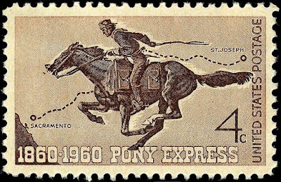 Pony Express commemorative stamp showing rider of a map pf the route from Sacramento to St. Joseph