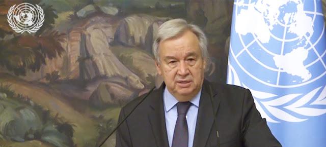 El Secretario General de la ONU, Antonio Guterres, en una conferencia de prensa en Moscú tras un encuentro con el ministro de Asuntos exteriores, Sergey LavrovTelevisión de la ONU