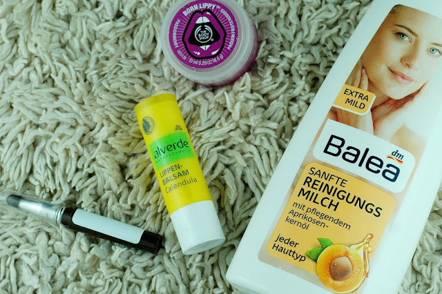 April 2016 Empties - Balea Sanfte Reinigungsmilch, Alverde Calendula Lippenbalsam, The Body Shop Born Lippy und essence Kajal