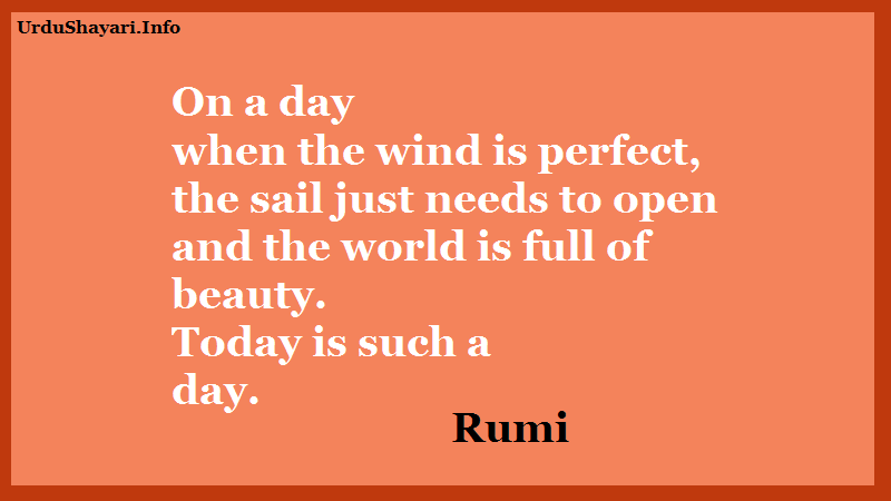 Mawlana Jalal-al-Din Rumi quotes on beauty - on a day when a wind is perfec