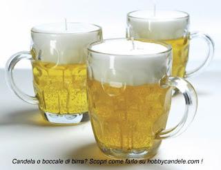 boccali di birra che si trasformano in candele originali