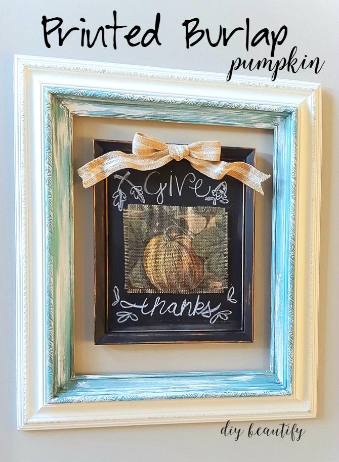 printed burlap pumpkin