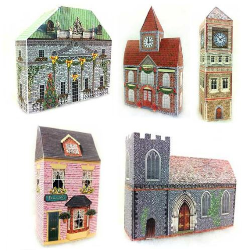 The Christmas Village Displays Website Offers A Free Collection Of Eleven Simple Papercraft Buildings That Are Suitable To Build With Young Children