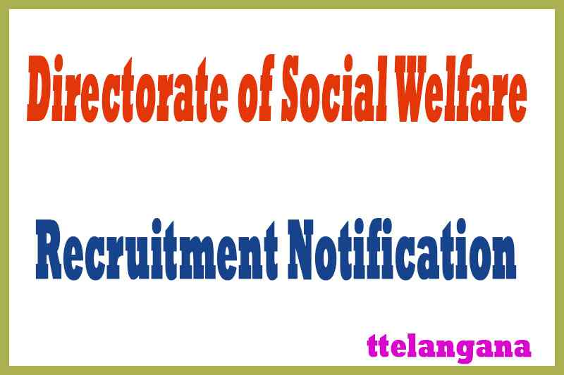 Directorate of Social Welfare DSW Recruitment Notification