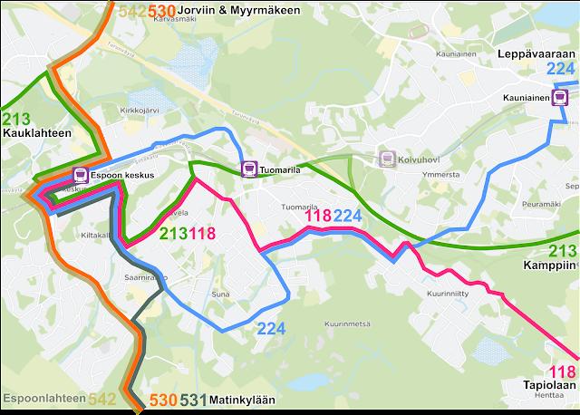 Jatkossa Sunaa palvelisi linja 224, kun runkolinja 530 aloittaa liikennöinnin ja se korvaa linjat 134 ja 136 Espoon keskuksen ja Matinkylän välillä.