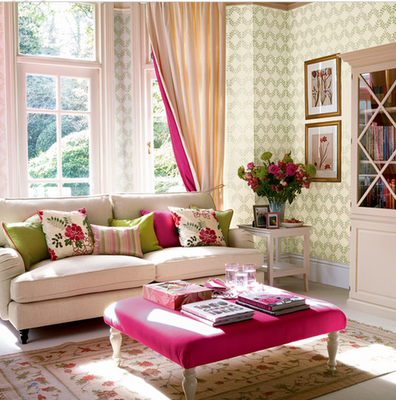 Eye for design decorating your home with the pink green - Green living room ideas decorating ...