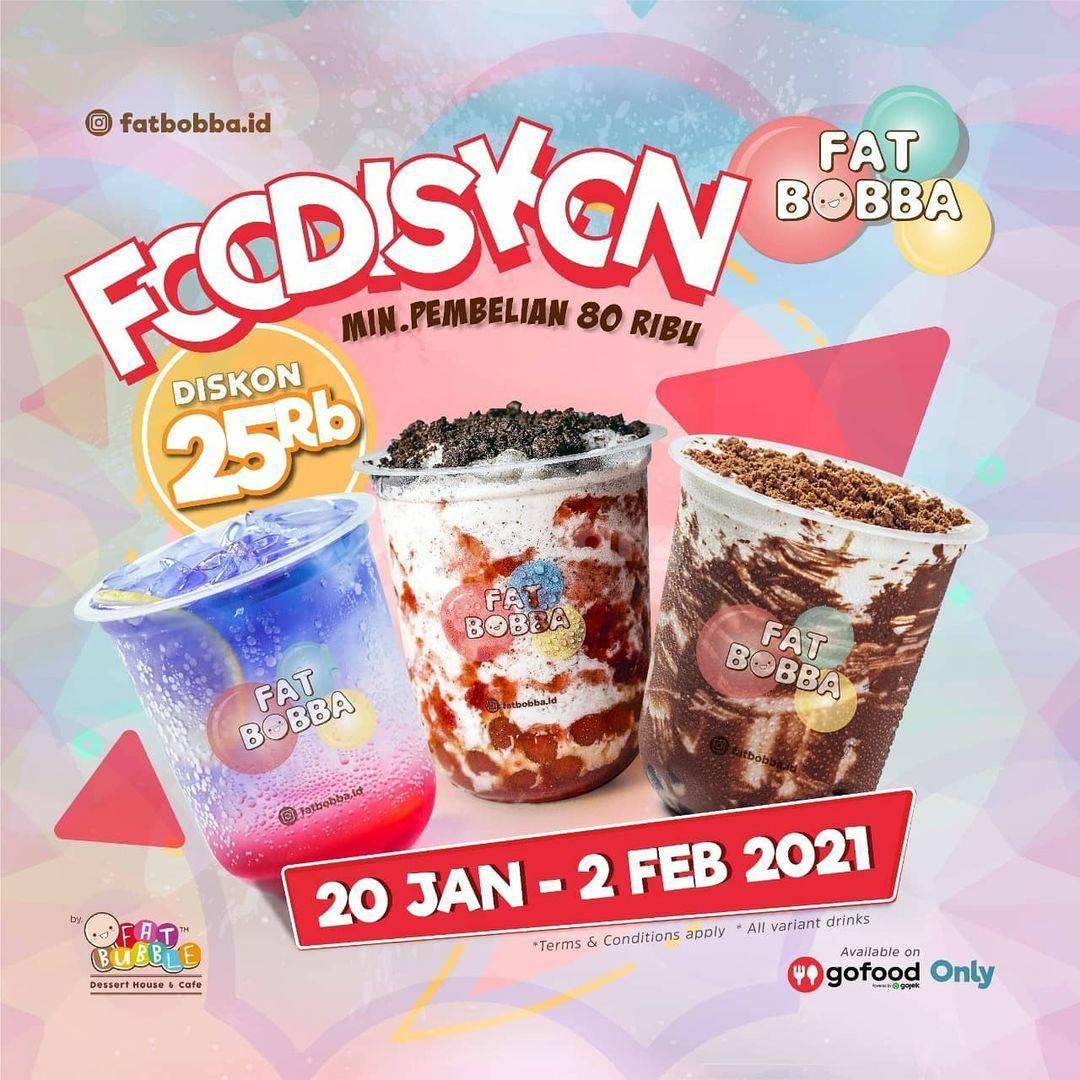 FATBOBBA Spesial Promo GOFOOD FOODISKON – Dapatkan Diskon Rp. 25.000