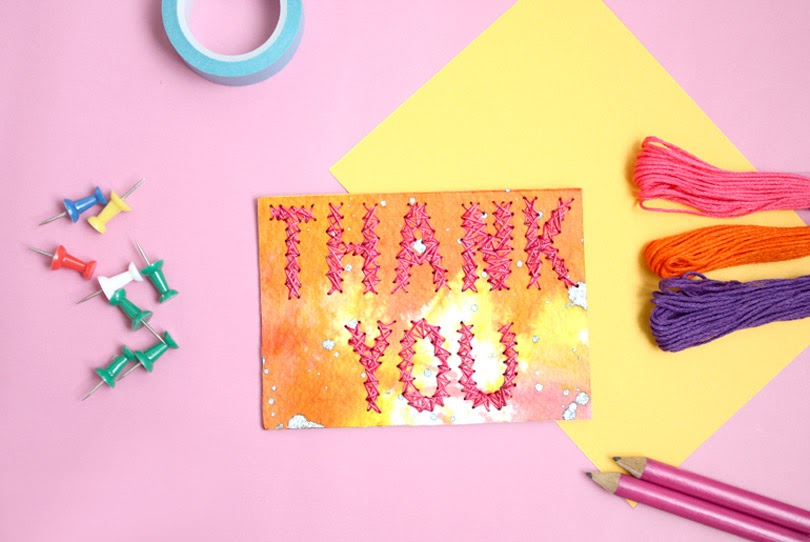 string art thank you notecard