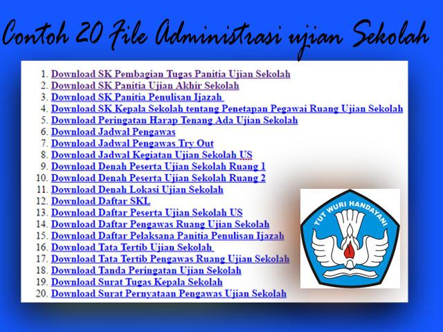 Contoh [20] File Administrasi Ujian Sekolah Lengkap SD, SMP,SMA,SMK
