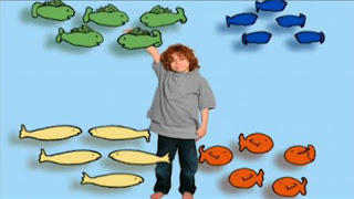 20 fish are counted in a cartoon. Sesame Street Preschool is Cool, Counting With Elmo
