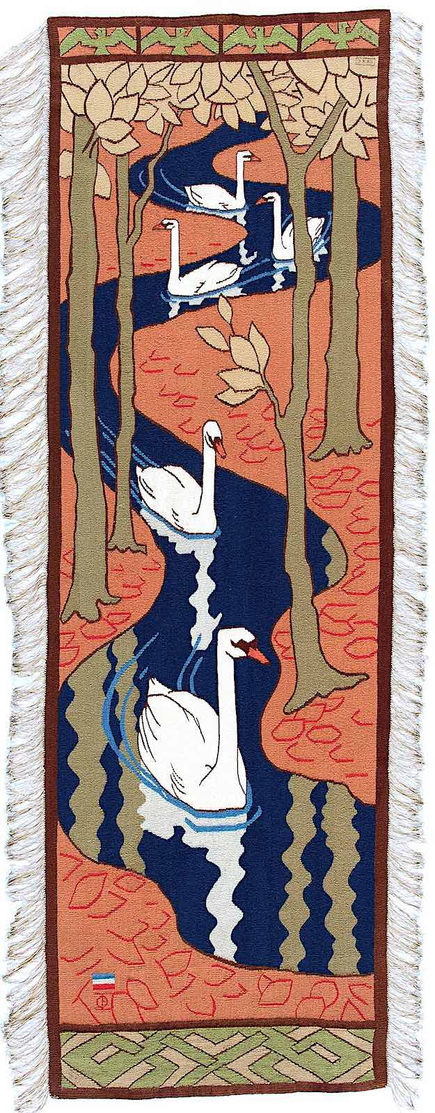 an Otto Eckmann wall hanging or tapestry of a procession of white geese on a winding stream