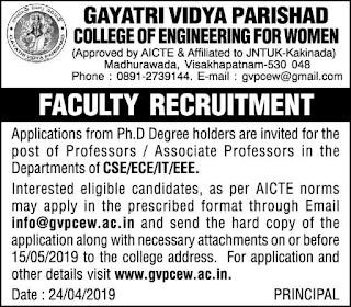 Gayatri Vidya Parishad College of Engineering Assistant Professor Jobs