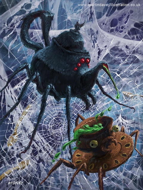 creepy spider monsters as tea pot and cup illustration Martin Davey