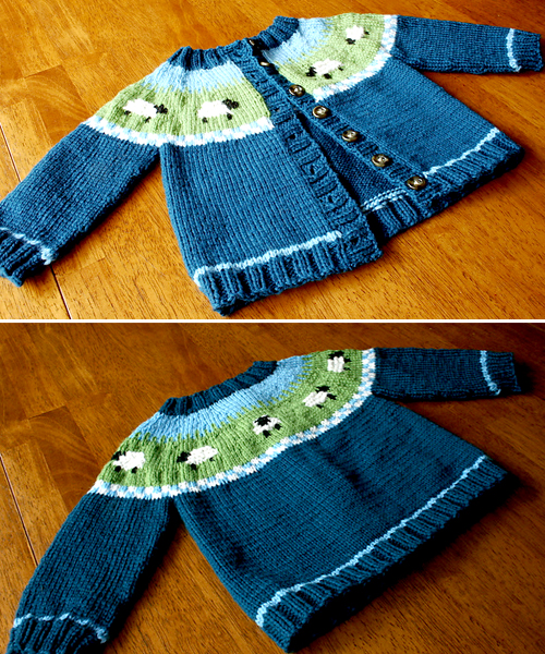 Sheep Yoke Baby Cardigan - Free Knitting Pattern