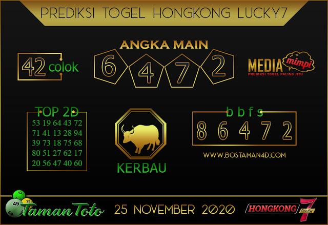 Prediksi Togel HONGKONG LUCKY 7 TAMAN TOTO 25 NOVEMBER 2020