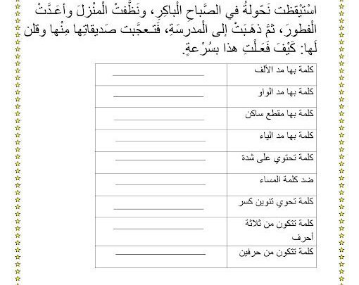 ورقة عمل مراجعة الفصول الدراسية الثلاثة اللغة العربية
