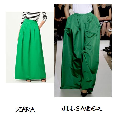 Clones 2011 falda Jill Sander Zara
