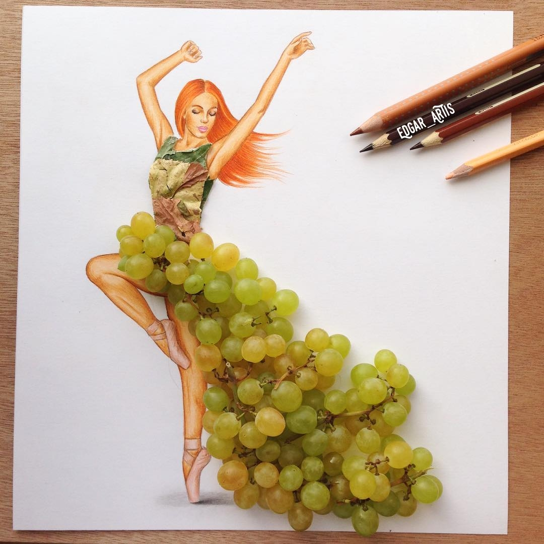 07-Grapes-Edgar-Artis-Drawings-that-use-Flowers-Food-and-Objects-www-designstack-co