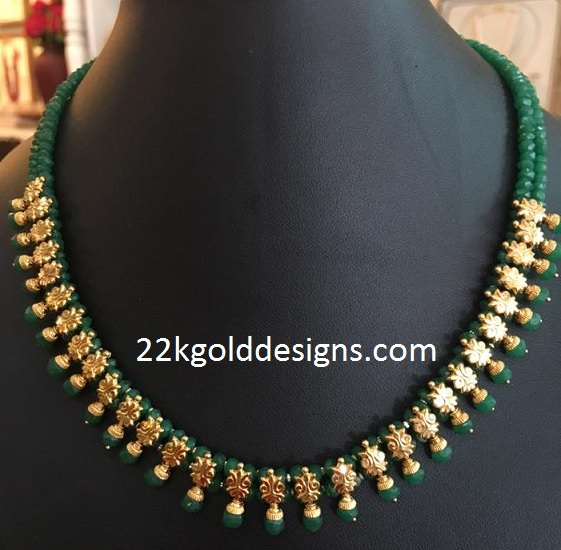Green Beads Gold Necklace