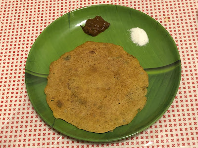 Millet adai with kara kulambu and sugar
