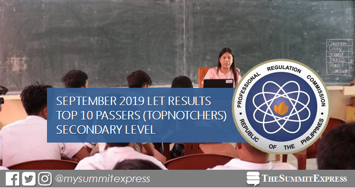 Top 10 Passers Secondary: September 2019 LET Teachers board exam result