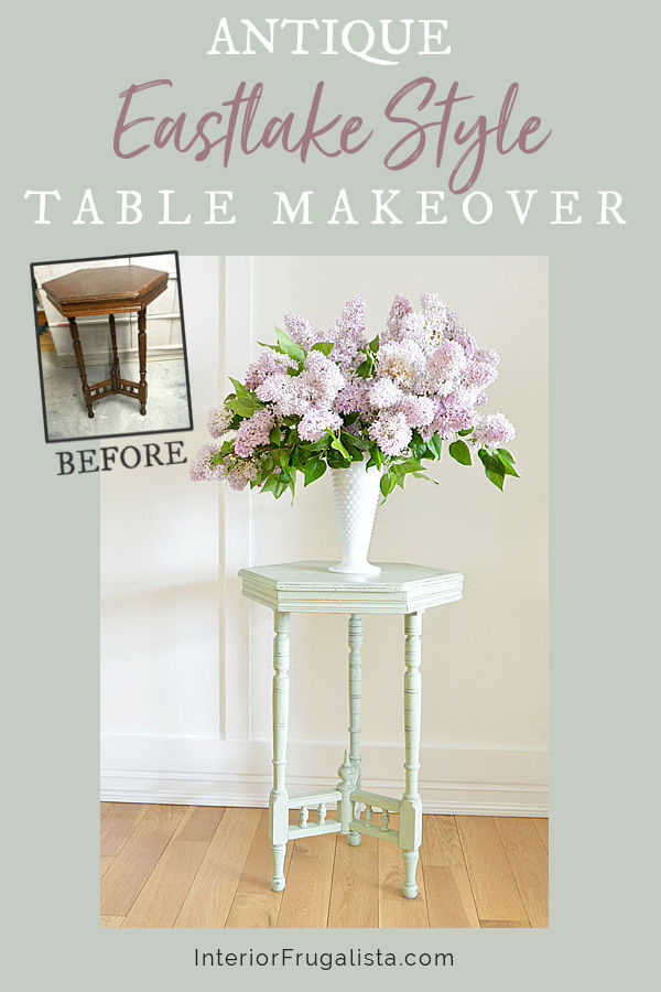 An upcycled antique Eastlake style hexagon accent table with spindle rail base and how damaged wood furniture can be redeemed after sustaining damage. #eastlakestylefurniture #furnituremakeover #paintedfurniture