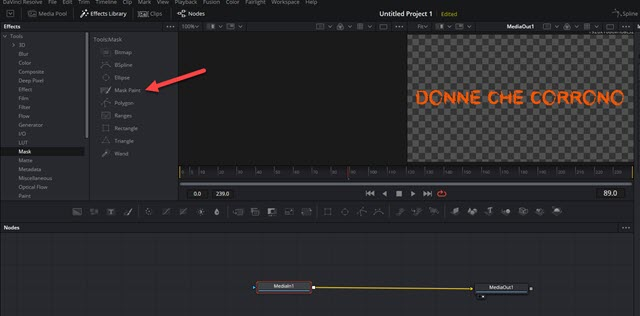 scheda fusion in davinci resolve
