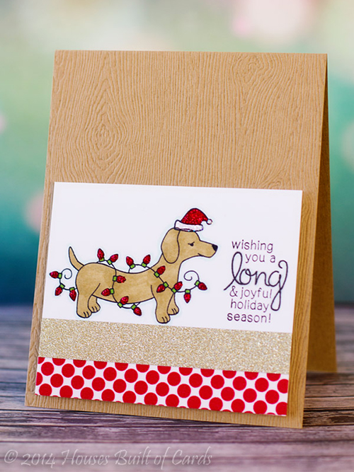 Doxie Christmas card by Heather Hoffman for Newton's Nook Designs - Holiday Hounds Stamp Set
