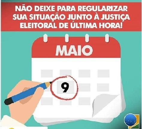 ATENÇÃO! Justiça Eleitoral de Chapadinha avisa o prazo final para o fechamento do cadastro eleitoral é 09 de Maio.