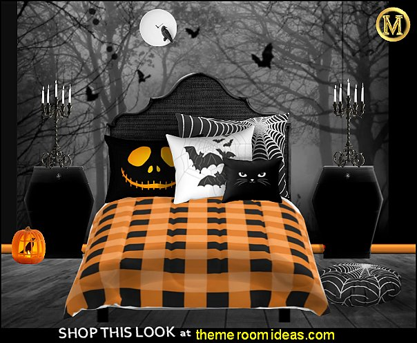 halloween bats halloween pumpkins bedroom Halloween decorations - Halloween decorating props - Halloween decor  - ghost decorations - Haunted mansion decorations - Pumpkin decorations - Skulls & Skeletons Halloween bedding - HALLOWEEN COSTUMES - zombie decor - Spider decorations
