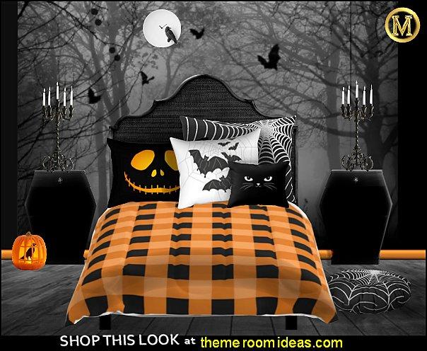 halloween bats halloween pumpkins bedroom Halloween decorations - Halloween decorating props - Halloween decor  - ghost decorations - Haunted mansion decorations - Pumpkin decorations - Skulls & Skeletons Halloween bedding - HALLOWEEN COSTUMES - zombie decor - Spider decorations