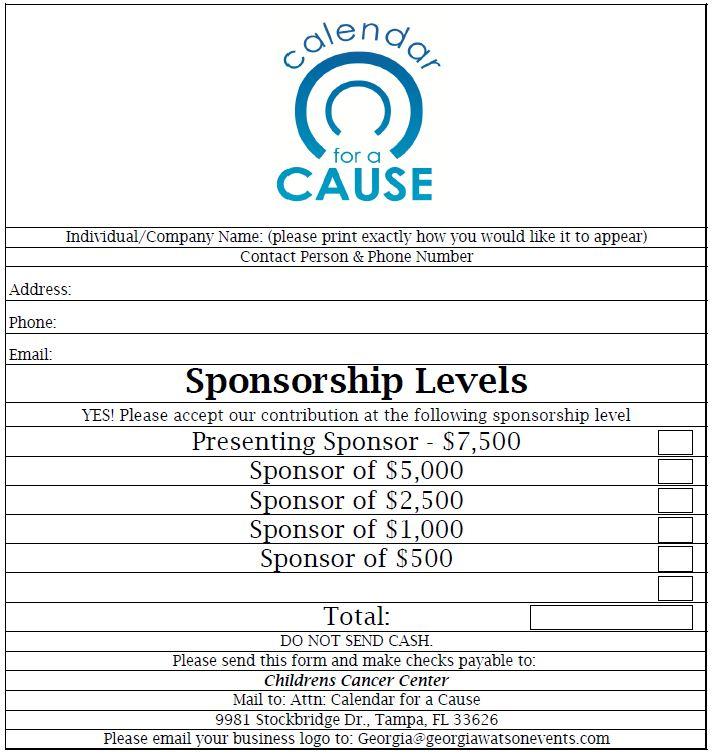 Calendar for a Cause Sponsorship Form