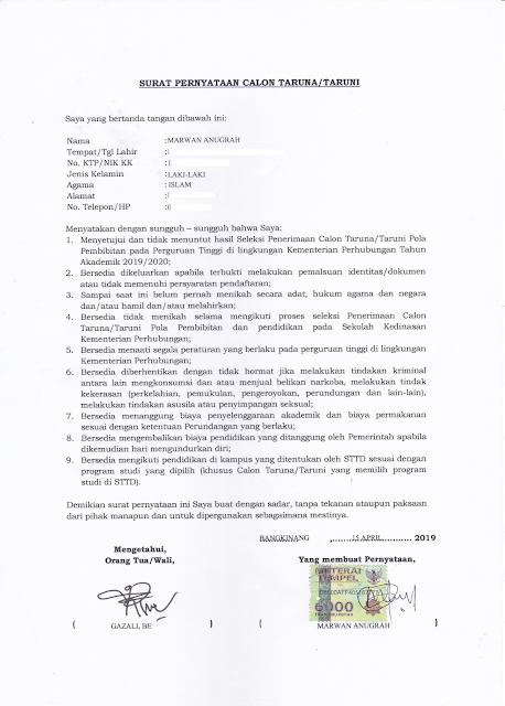 Contoh Surat Pernyataan Calon Taruna/Taruni