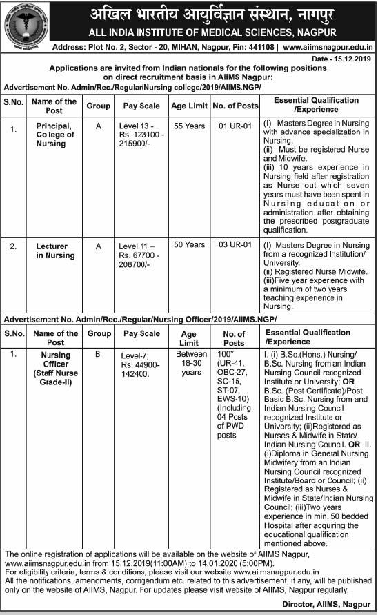 AIIMS Recruitment 2019 Principal, Lecturer, Nursing Officer – 104 Posts aiimsnagpur.edu.in Last Date 14-01-2020