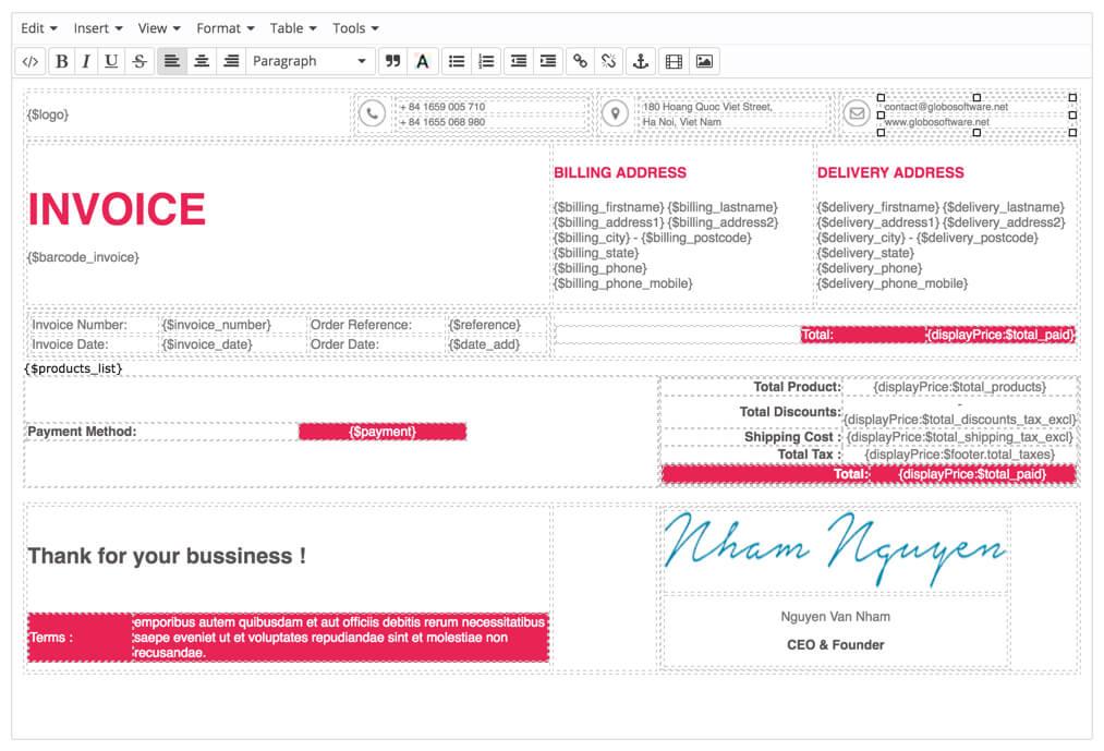 Example Of Commercial Invoice For Export Prestashop Edit Invoice Template By Advanced Invoice Module Ms Word Invoice Pdf with Rent Receipt Forms Edit Prestashop Pdf Invoice  Delivery By Editor Tinymce Self Employed Invoice Template Word