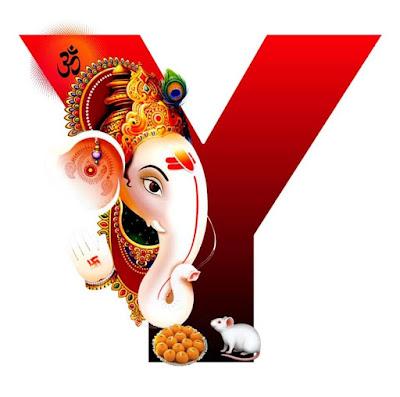 Y Alphabet with Lord Ganesha Image