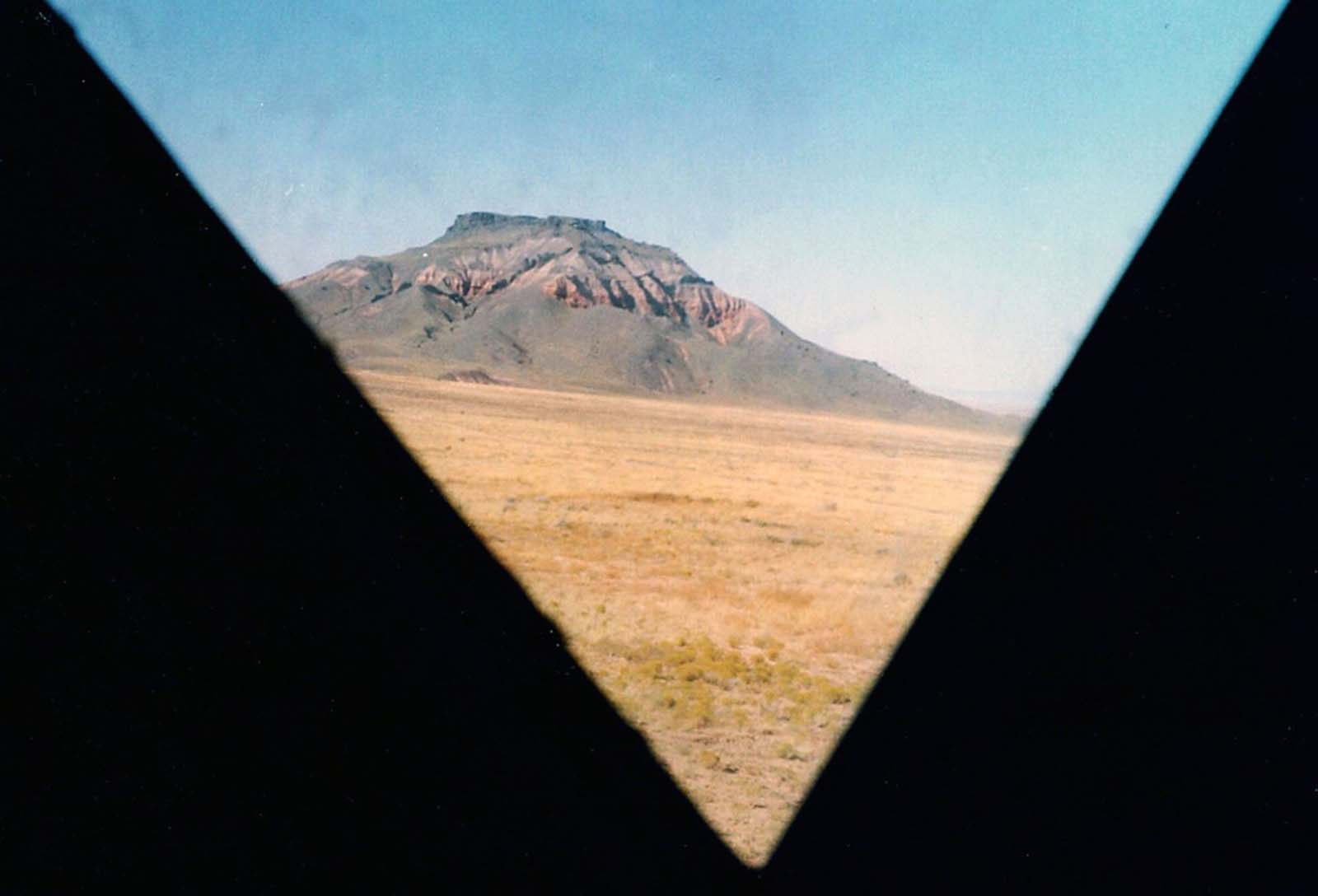 A view of Chezhin Chotah Butte as seen from inside the lunar-module mock-up through one of two triangular windows, photographed in 1965.