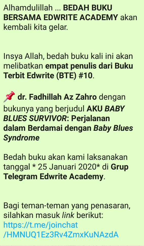 *dr. Fadhillah Az Zahro* dengan bukunya yang berjudul *AKU _BABY BLUES SURVIVOR_: Perjalanan dalam Berdamai dengan _Baby Blues Syndrome_* Sabtu, 25 Oktober 2020
