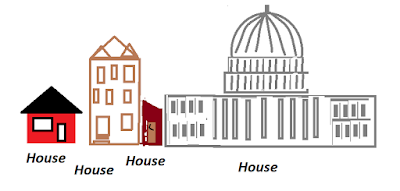 "simple drawings labeled ""House"" - one-story house, 3-story townhouse, small outhouse, House of Representatives"
