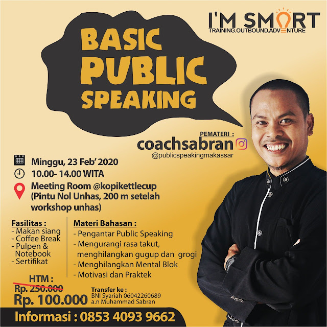coach sabran,  trainer i'm smart,  motivator makassar